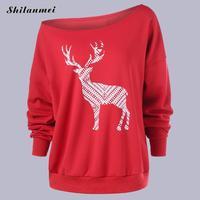 Harajuku Women T Shirt Women Loose Elk Deer Printing Top Merry Christmas Boat Neck Long Sleeve
