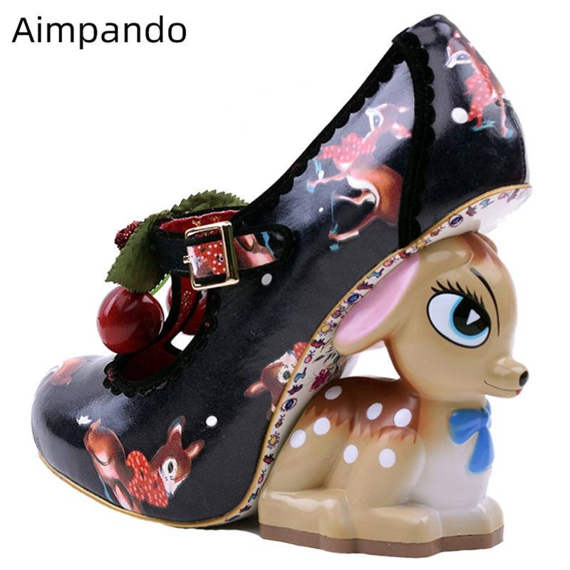 Novelty Deer Heel Strange Heel Women Pumps Printed Color Painted Flower Cherry Belt Round Toe High Heel Party Shoes Woman
