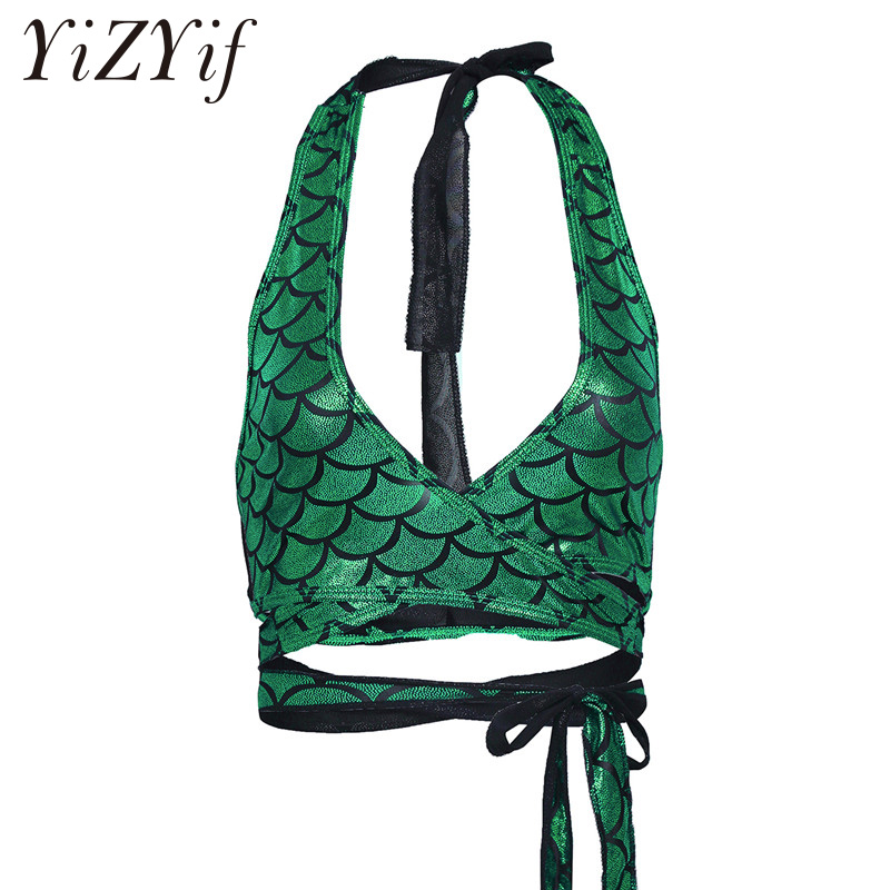 2018 Summer Sexy Crop   Top   Women Shiny Mermaid Fish Scale Print   Tank     Top   Party Mermaid Skin Print Strappy Wrap Around Bra Camis