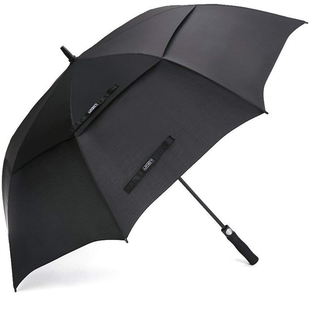 68 Inch Automatic Open Double Canopy Golf Umbrellas In Black Color