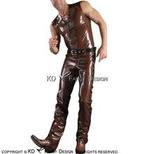 Cowboys Сексуальная латексная майка Топ и резиновые джинсы брюки Леггинсы без пояса YF-0136