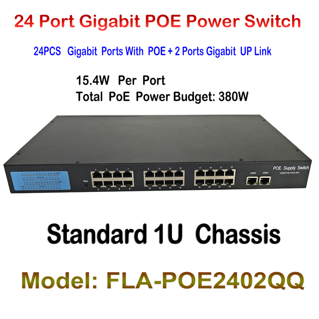 PoE Network Adapter for Indoor IP CAM LAN Repeater 2 Ports Gigabit Fast Ethernet Switch Network