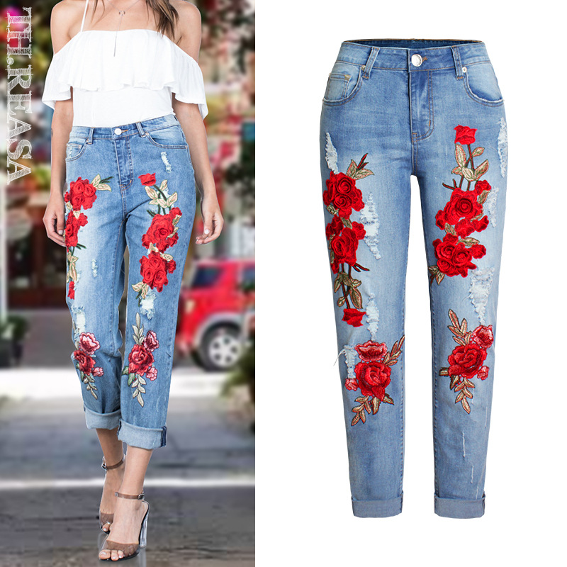 Embroidery Ripped Flowers Straight   Jeans   Women 3D Stereoscopic Cotton Elastic Loose Blue Washed Vintage Pattern Trousers Femme