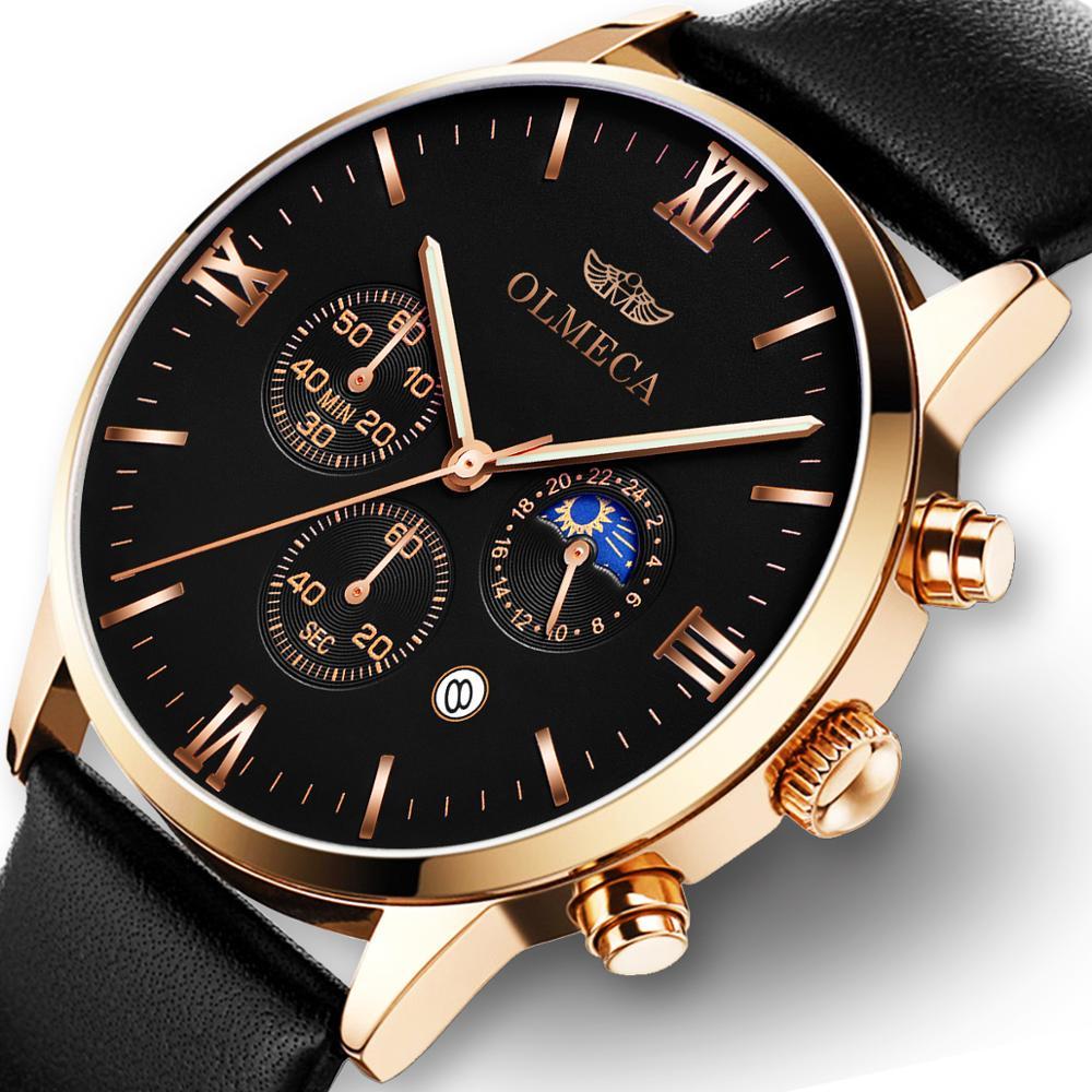 Men Quartz Watches OLMECA Luxury Brands Fashion Timed Movement Military Leather relogio masculino