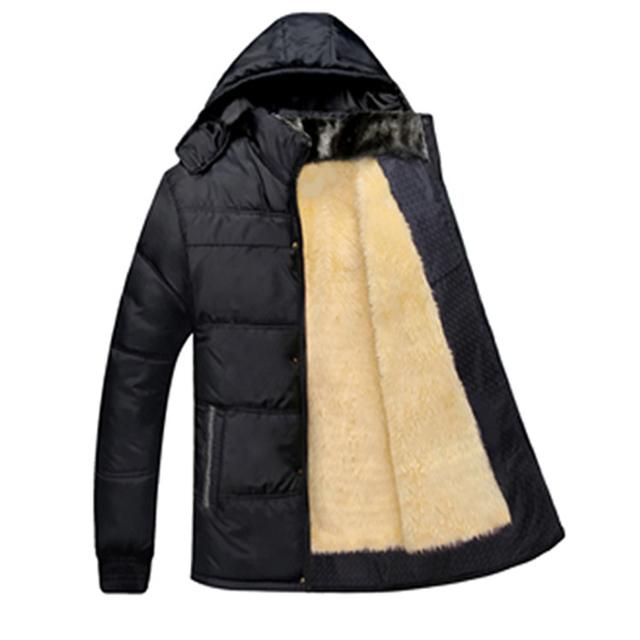 Chaqueta Acolchada de los hombres XXXL Hombres de Mediana Edad Gruesa Cálido Abrigo de Negocio prendas de Vestir Exteriores Parka Hombres Abrigo Negro De Alta Calidad Negro