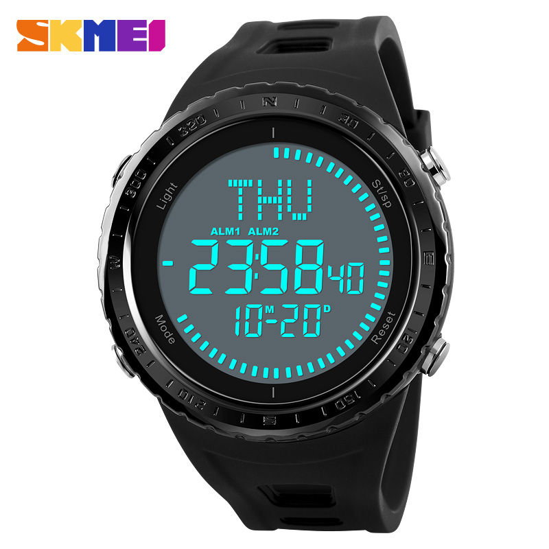 SKMEI <font><b>1342</b></font> Men Sport Watches Compass 50M Waterproof Outdoor Countdown Alarm World Time Digital Wristwatches Relogio Masculino image