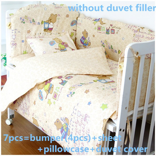 Promotion! 6/7PCS baby bedding sets baby crib set ropa de cuna Comforter cot quilt cover sheet bumper, 120*60/120*70cm