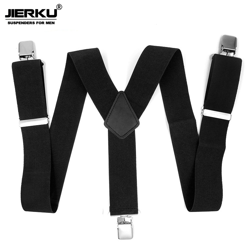 JIERKU Suspenders Man's Braces Leather 3 Clips Suspensorio Fashion Trousers Strap Father/Husband's 2.5*120cm JK3C01