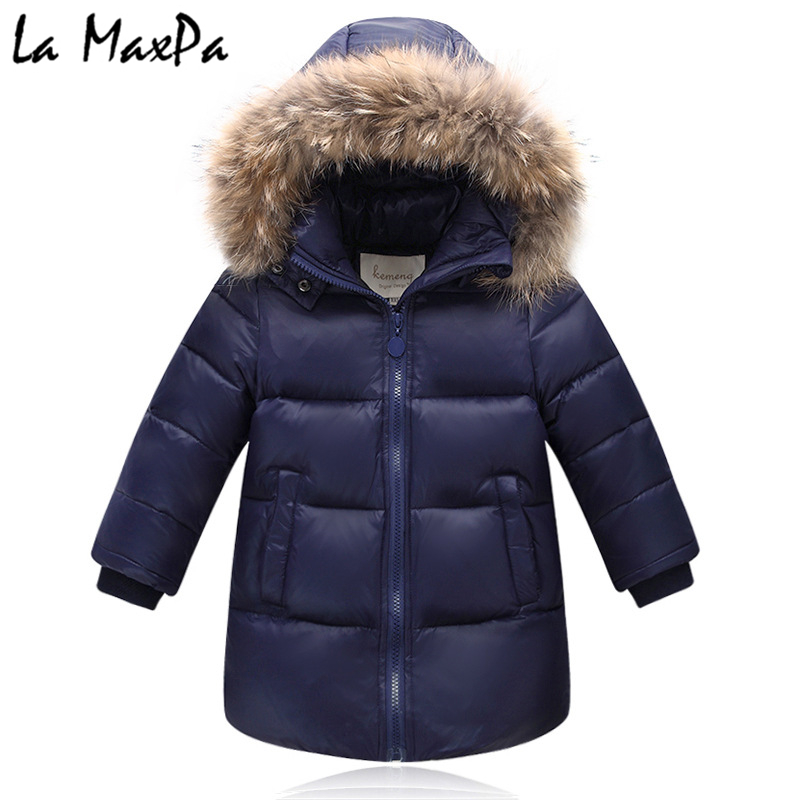 купить 2018 winter down jacket parka for girls boys coats , 90% down jackets children's clothing for snow wear kids outerwear & coats по цене 3725.59 рублей