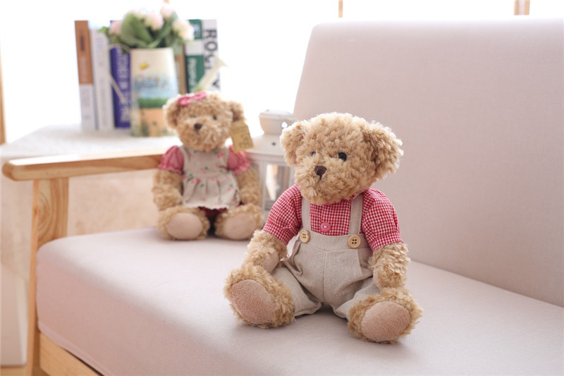 Cute Couple Teddy Bear Plush Toys Couple Bear Wedding Teddy Bears Soft Stuffed Dolls Valentine Day Kids Friends Lovers Birthday Christmas Gift 26cm 1 Pair (20)