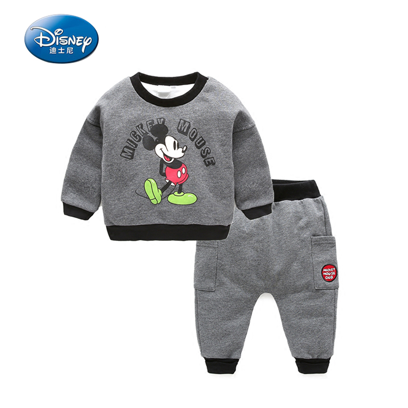 Disney  2color Children Thick Winter Clothes Sets Mickey Mouse Cartoon Cute Boys outwear Suits Pure Cotton sweatershirt+pants