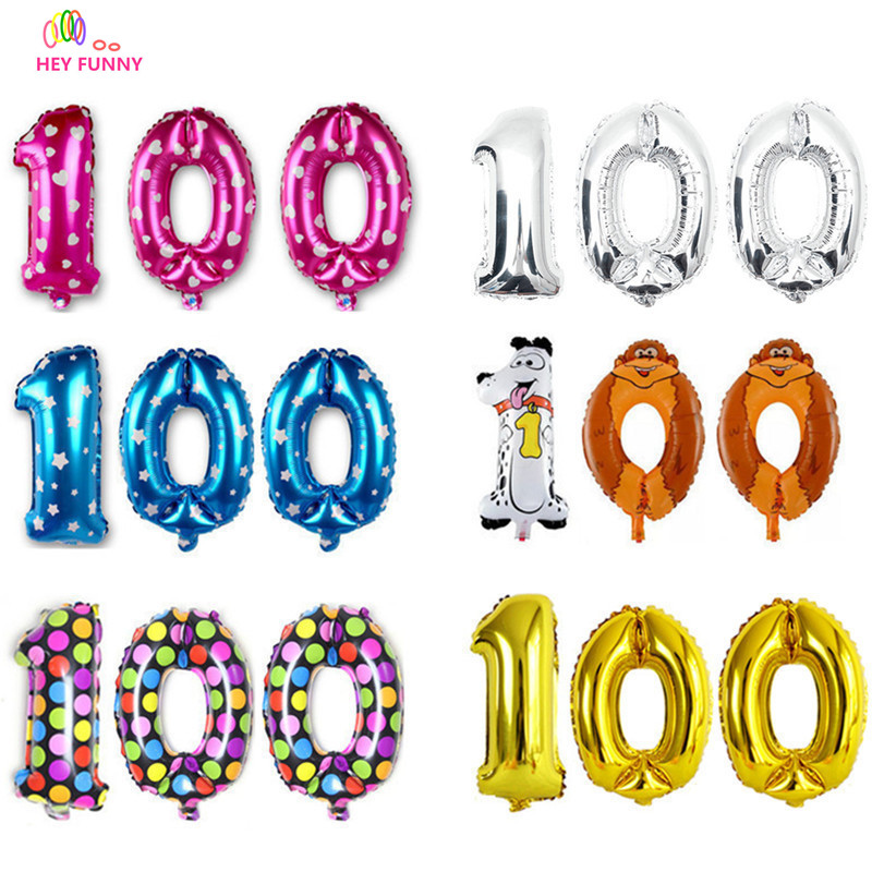 100 days number foil balloons new year party decoration inflatable letters air balls figure balloons party