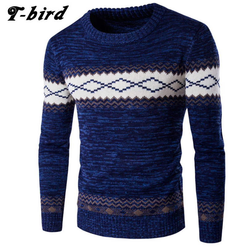 T-bird 2017 Fashion Brand Clothing Men Sweater National Wind Warm O-Neck Slim Fit Casual Pullover Men Sweaters Wool Mens CMSKHF