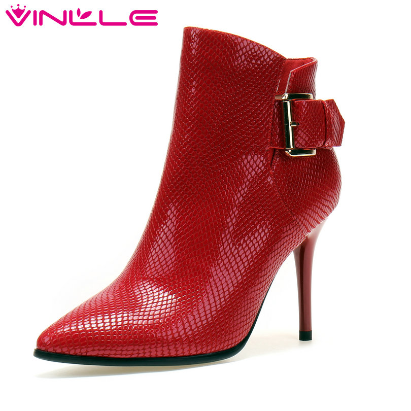 VINLLE 2018 Women Boots Sexy Ankle Boot Thin High Heel Genuine Leather Patchwork Pointed Toe  Ladies Motorcycle Shoes Size 34-39 pro vertical battery grip holder for canon eos 760d 750d t6s t6i ix8 as bg e18