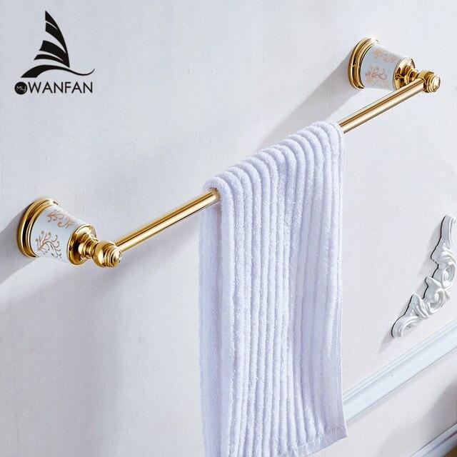 Towel Bars Elegant Wall Mounted Gold Copper Single Towel Bar Bathroom  Accessories Towel Rack Sanitary Wares