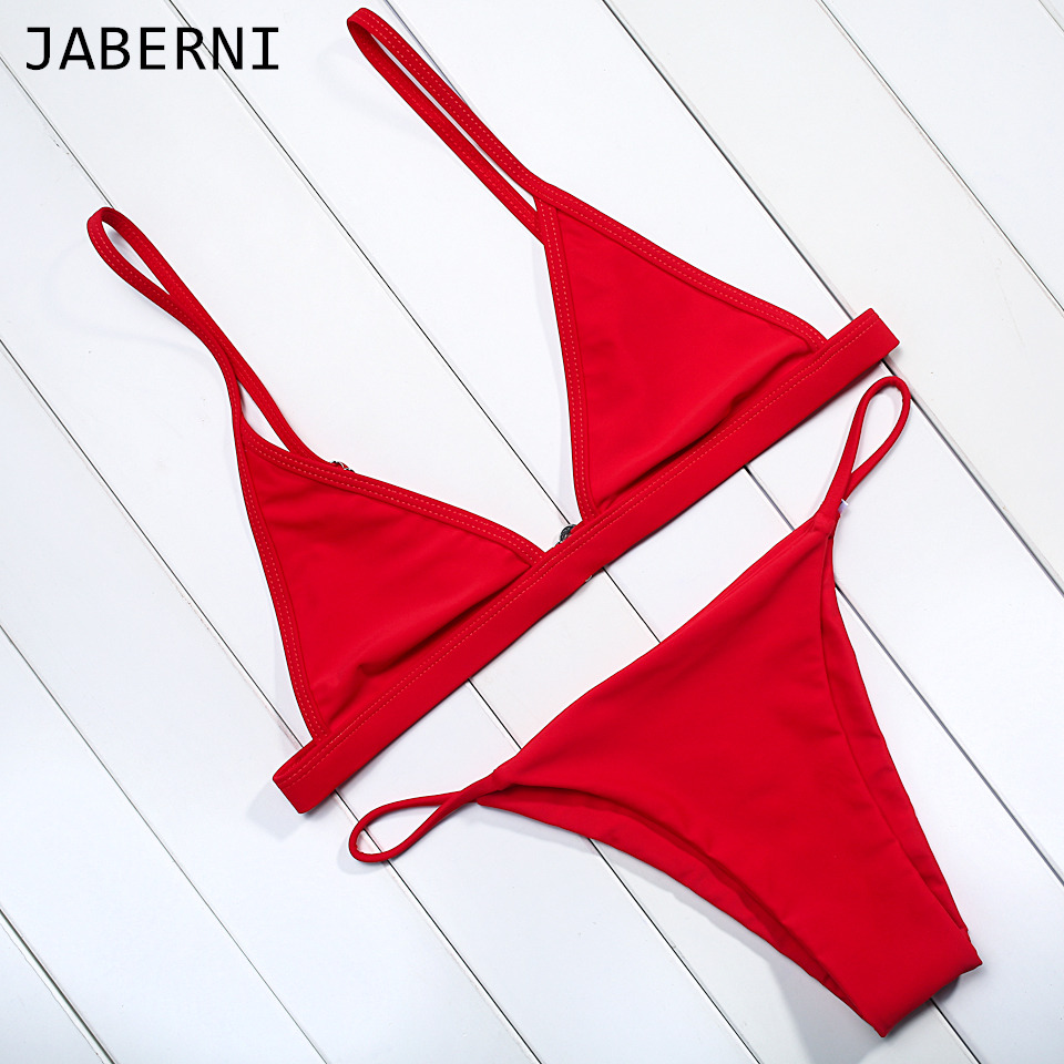 ФОТО JABERNI Bikinis Women 2017 Bikini Set Swimwear Low Waist Thong Beachwear Black Bathing Suits