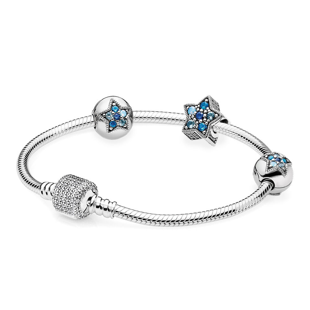 Original 925 Sterling Silver Bright Star Pandora Bracelet Blue Set Jewelry for Women GiftOriginal 925 Sterling Silver Bright Star Pandora Bracelet Blue Set Jewelry for Women Gift