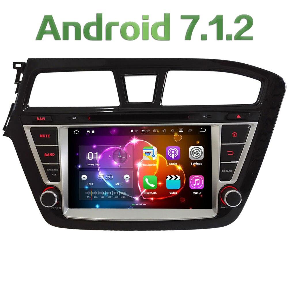 8 ''HD 2 gb RAM Quad Core Android 7.1 Multimédia De Voiture Lecteur DVD Radio Stéréo GPS Navi Pour Hyundai i20 Main Gauche Conduite 2014-2017