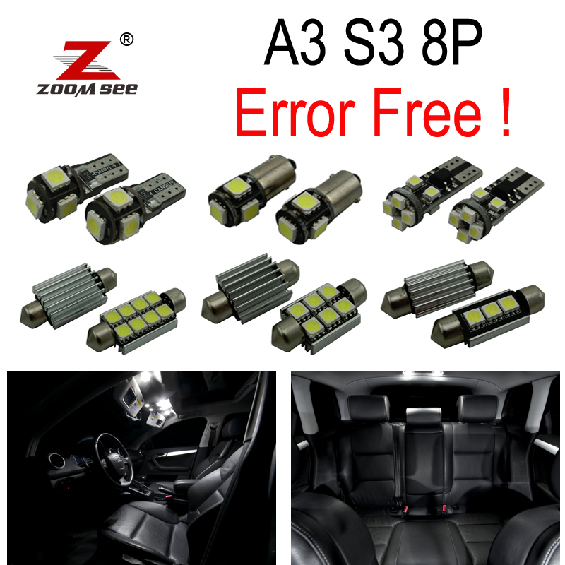 20pc X LED Bulb Interior Light Kit Package for 2003 2013 Audi A3 S3 8P 3 Door and 5 Door Sportback
