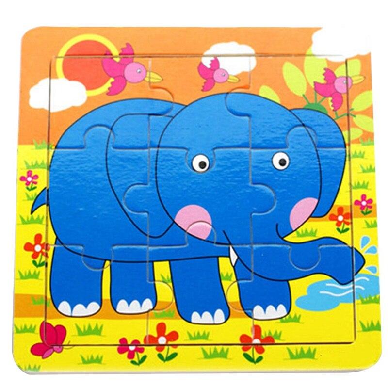 Милый мультфильм детские головоломки деревянные небольшой кусок детские игрушки 3D деревянные головоломки Развивающие игрушки для детей