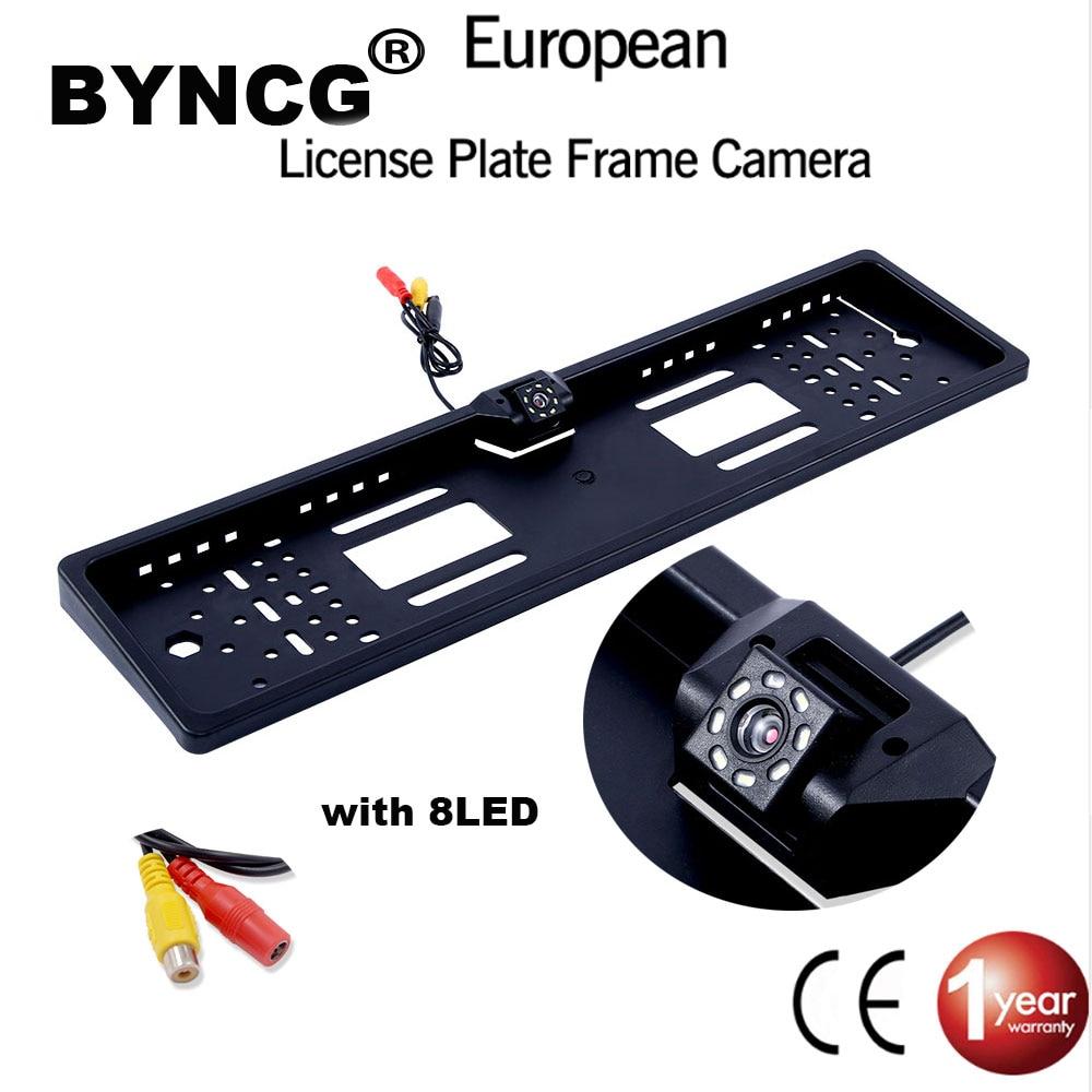 EU European License Plate Frame Car Rear View Camera Waterproof Night Vision Reverse Backup Camera 4 LED Light