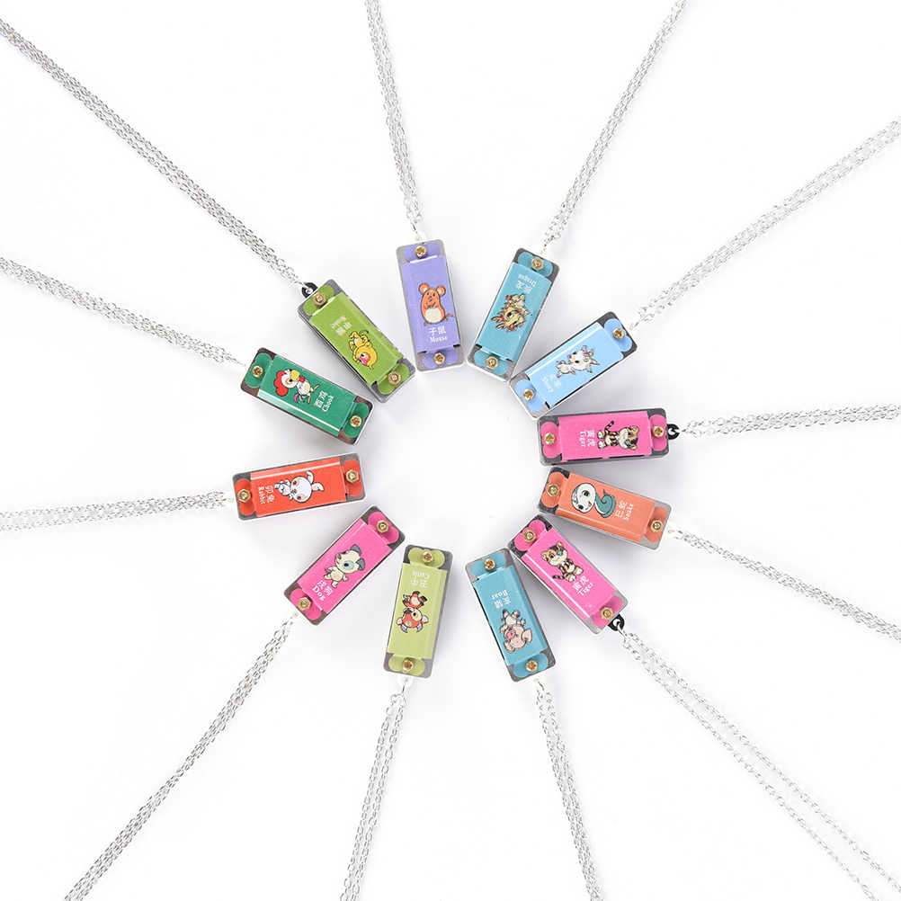 4 حفرة 4 لهجة قلادة لون عشوائي 1 قطعة هارمونيكا المعادن الملونة الصغيرة دائم