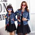 Familia aspecto nuevo a juego de moda de manga corta bordado pesado chica denim chaqueta ropa de la madre y la hija