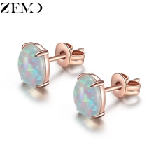 ZEMO Rose Gold Opal Earrings Studs Egg Shape Studs Earrings for Women Fashion Muti Color Ear Jewelry Anniversary Earrings Gift s