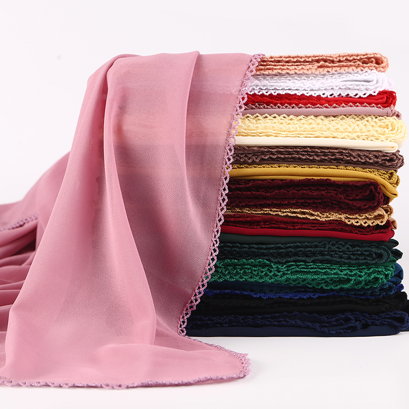 Bubble Plain Bubble Chiffon Lace Edges Scarf Women Muslim Hijab Wrap Shawls Headband Scarves Wholesale 180*75cm