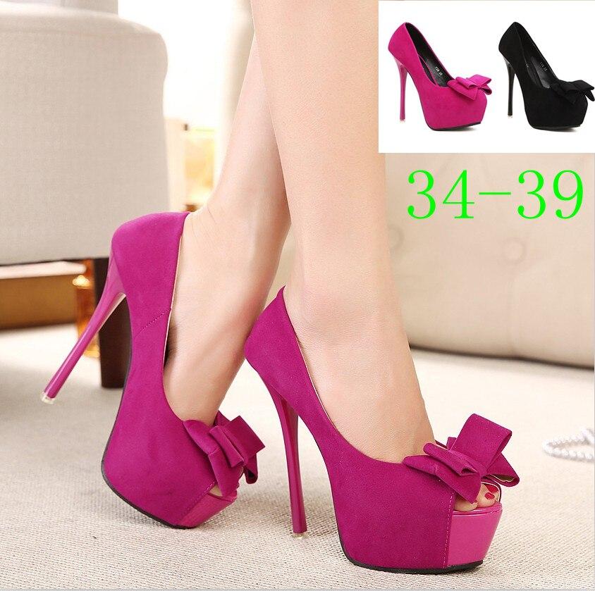 Fuchsia pink bowtie peep toe women shoes high heels wedding shoes ...
