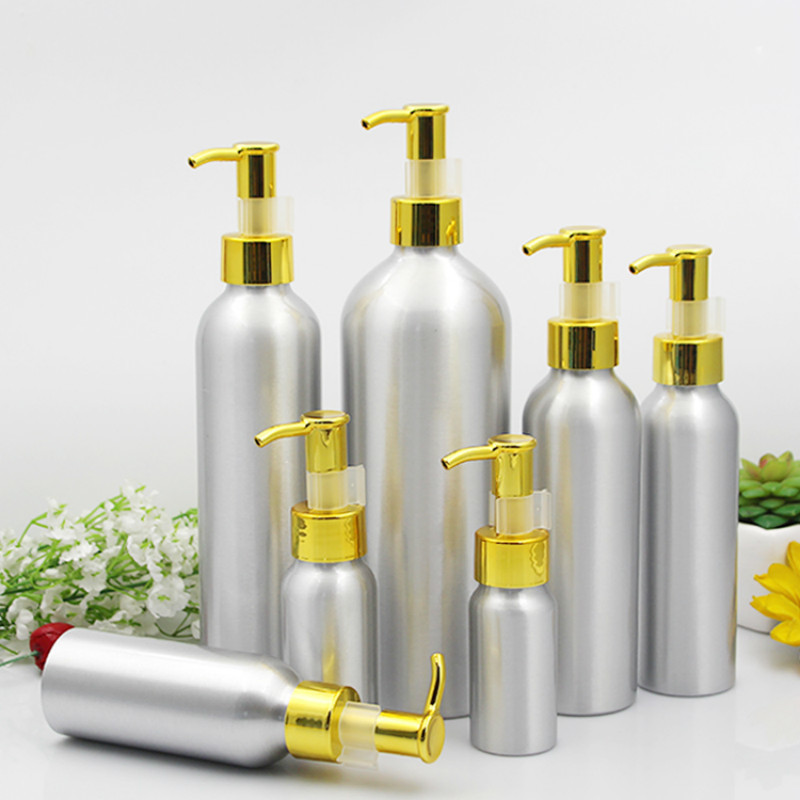 Aluminum Lotion Pump Bottle Gold Cap Metal Tin Emulsion Container Empty Cosmetic Packaging 30/50/100/120/150/250/500ml