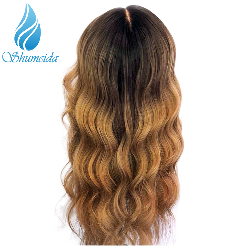 Image 2 - SHD Ombre Color Lace Front Wigs for Women Brazilian Remy Hair Middle Part Wigs 100% Human Hair Front Lace Wig with Baby Hair-in Human Hair Lace Wigs from Hair Extensions & Wigs