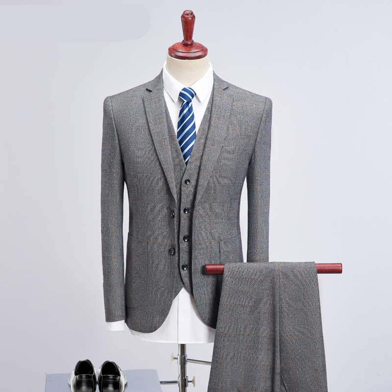 2018 Latest Coat Pant Designs Gray Slim Fit Groom Tuxedos Men Suits Wedding Suits Men Pr ...