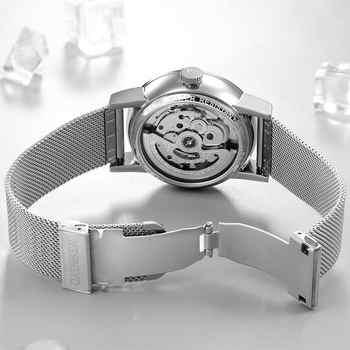 CADISEN Mens นาฬิกาอัตโนมัติวันที่ผู้ชายแฟชั่น Casual นาฬิกากันน้ำนาฬิกาข้อมือสแตนเลสสตีล