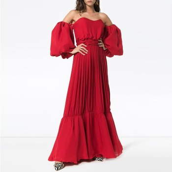 Top Quality Chiffon Long Evening Gowns Off Shoulder Puffy Sleeves A Line Formal Dress Beach Boho Summer Prom Party Gowns Custom