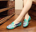 Old Beijing embroidery Flats cloth Chinese wedding national Peach Blossom embroidered shoes Square dance single shoes