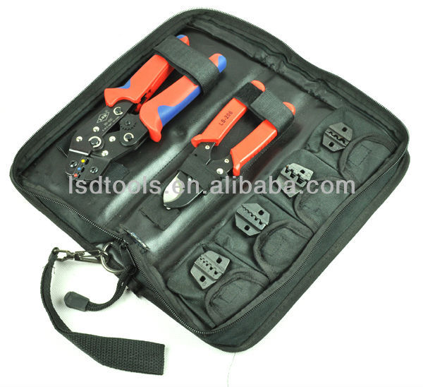 Crimping Tool Set/kit DN-K02C with cable cutter,crimping plier& replaceable crimping die sets/jaws,terminal hand tools,crimpers  цены