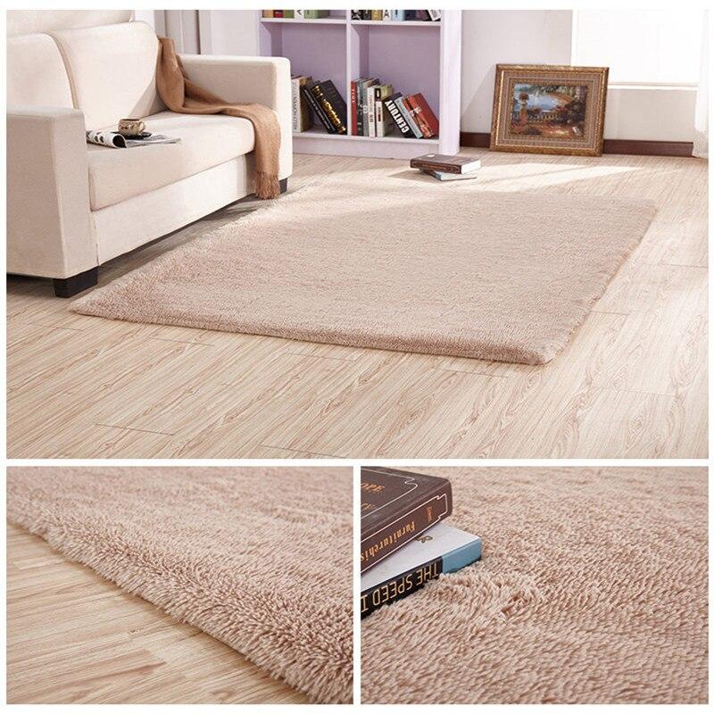 Anti-slip Silk Floor Mat European Modern Rectangular Long Hair Carpet Living Room Coffee Table Rug Bedroom Bed Thick Blanket