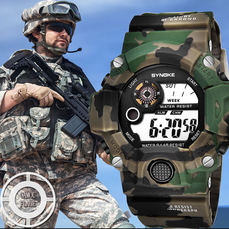 SYNOKE Watch Men 39 s Electronic Personality Camouflage Shock Watches Sport Military Waterproof Student Electronic Army Men Watch in Digital Watches from Watches