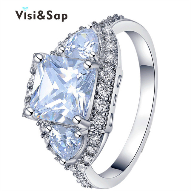 Visisap White Gold color rings 3 Square Stone brilliant luxury Wedding Rings For Women vintage bague fashion Jewelry VSR176