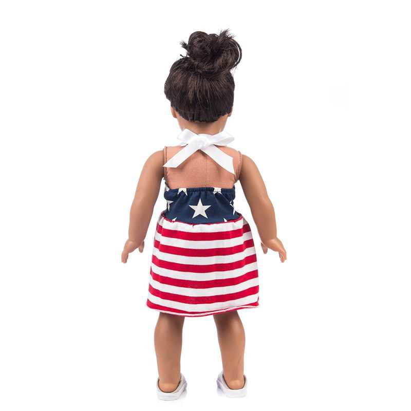 18 inch girl doll red stripe dress for 38cm  baby doll dress baby girl new year gifts