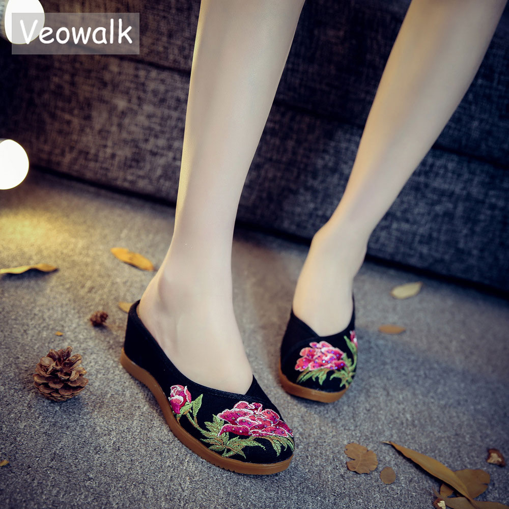 Veowalk Hidden Wedges Med Heels Women Linen Embroidered Slides Slippers Summer Ladies Casual Comfort Cotton Shoes Zapatos Mujer