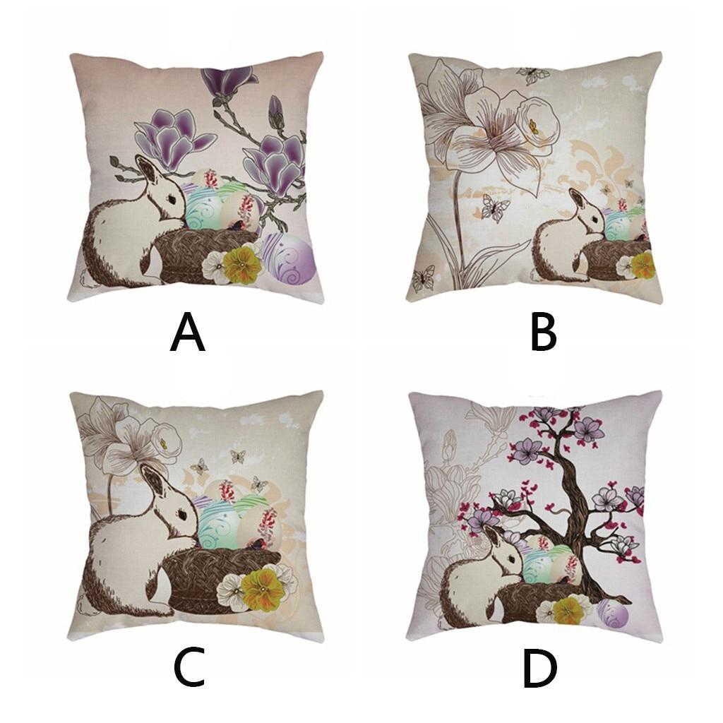 Cute rabbit print Cushion cover Easter Sofa Bed Home Decoration Festival Environmental protection Pillowcases Cushion Cover-in Cushion Cover from Home & Garden