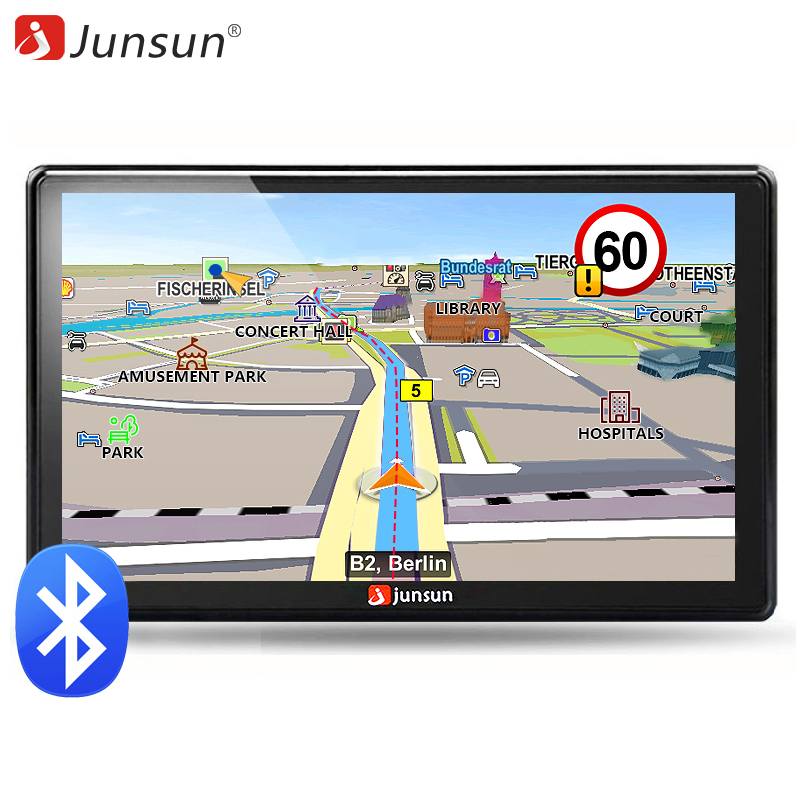 Junsun 7 inch HD Car GPS Navigation FM Bluetooth AVIN 2018 Europe Map Free Upgrade Sat nav Automobile Gps Navigators