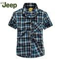 AFS JEEP 2016 Men's short-sleeved striped shirt summer new men's Slim short sleeve shirt fashion casual shirt 80