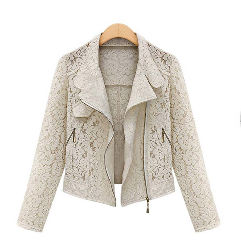 Lace Biker Jacket 2019 Autumn New Brand High Quality Full Lace Outwear Leisure Casual Short Jacket Innrech Market.com