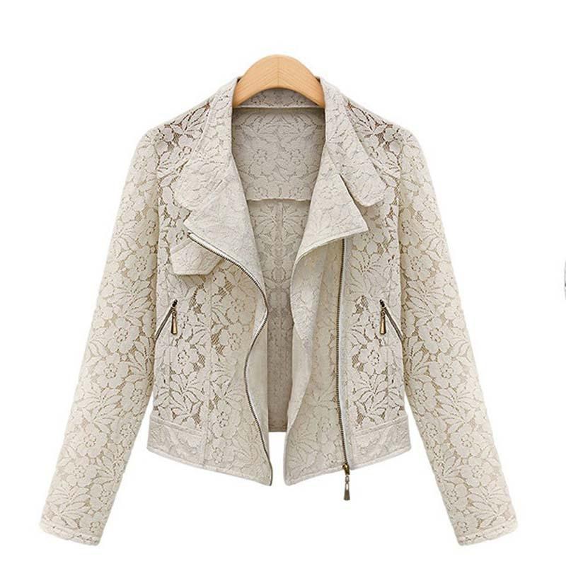 Lace Biker Jacket 2019 Autumn New Brand High Quality Full Lace Outwear Leisure Casual Short Jacket Innrech Market.com