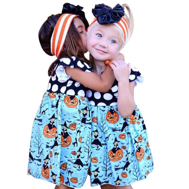 Baby Dress Cute Polka Dot Printed Halloween Pumpkin Pattern Kids Girls Dress Toddler Girls Dresses
