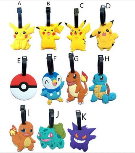 11 Styles New Go Pikach Charmander Squirtle Piplup Gengar Luggage Tags