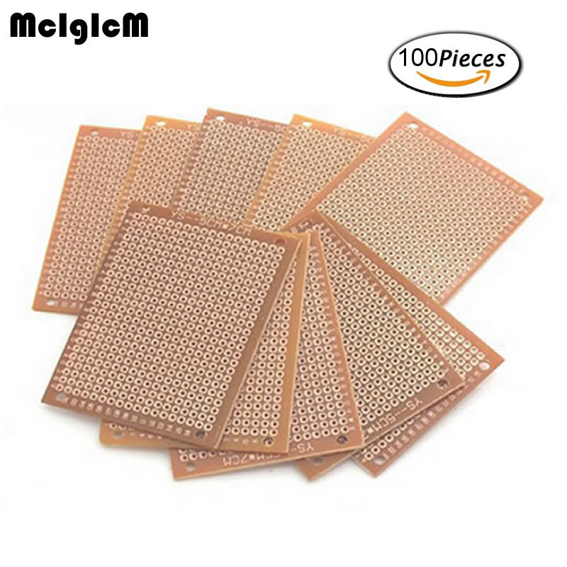 MCIGICM 100Pcs new Prototype Paper Copper PCB Universal Experiment Matrix Circuit Board 5x7cm Brand dhl ems 200 pcs double side prototype pcb tinned universal board 4x6 4 6cm j33